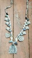 Vintage Sterling Silver & Prehnite Parvati Goddess Pendant Necklace
