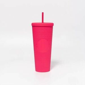 2021 Starbucks Singapore Studded Barbie Ruby Pink Matte Bling Summer Cold Cup
