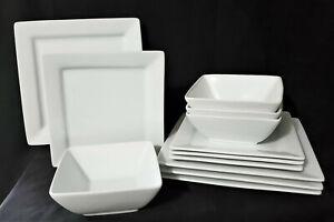 BETTER HOMES & GARDENS 12 pc. SQUARE WHITE plates bowls porcelain MINTY!