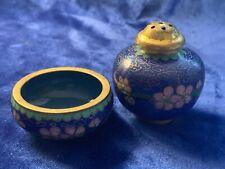Vintage Chinese Cloisonné Salt Cellar & Pepper Shaker - Lt Green & Pink on Blue