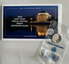 2020 W Jefferson Nickel Proof 5c Coin West Point 5 Cents Envelope and COA