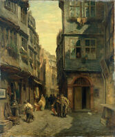 "oil painting handpainted on canvas "" The Jewish Quarter in Frankfurt  """