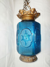 Early 20th Century Ornate Brass Mounted Blue Glass Hanging Swag Lamp