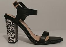 "NEW!! Liliana Black Snake Embossed Sandals 4"" Block Heels Size 8 US 38EU"