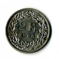 Moneda Suiza 1968  2 francos suizos coin Helvetia