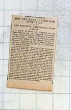 1925 Garçons colons quitte l'Angleterre pour Kingsley Fairbridge Farm School Pinjarra