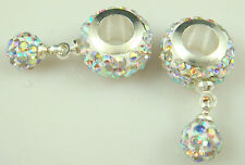 Gorgeous Czech Crystals Dangle Bead fit European Charm Bracelet Earrings am7