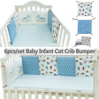 6pcs Cotton Baby Infant Crib Cradle Cot Bumpers Protective Nursery Bedding Sets