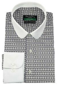 Men's Peaky Blinders Penny Round Collar 3D Grey Checks Thomas Shelby Club Shirt