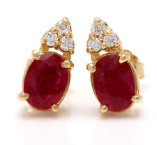 3.16ct Natural Untreated Red Ruby and Diamond 14K Solid Yellow Gold Earrings