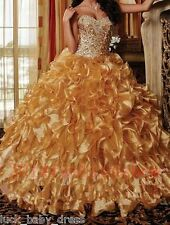 Gold Ball Gown Quinceanera Dresses Ruffles Prom Formal Pageant Dresses Size2-16
