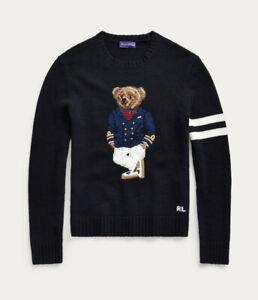 Ralph Lauren Purple Label Navy Cashmere Nautical Captain Bear Sweater New $1495
