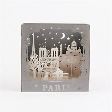Kirigami Origami 3D Pop-Up Cards Greeting Cards Paris Lovers Birthday Wedding AA
