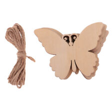 10Pcs Wood Butterfly Cutout Embellishments Cardmaking DIY Craft with String