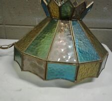 Stained Glass Brass Tiffany Syle Swag Lamp Chandelier (b24)