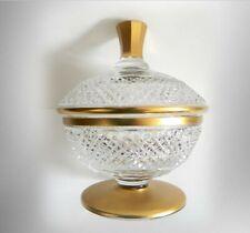 Moser vintage heavy cut crystal lidded jar with gold accents  Splendid