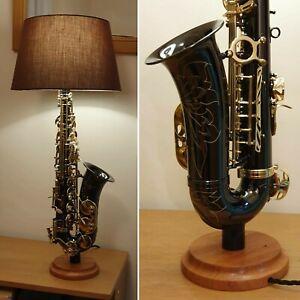 Black Saxophone table lamp with hardwood base, made to order