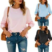 Women Plain Long Sleeve T Shirt Tops Pullover Sweatshirt Loose Jumper Blouse Tee