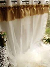 "98""x76"" Shabby French Country Chic - Burlap Curtain Panel White RUFFLE 2 Layers!"