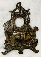 Antique Levy's CHRISTOPHER COLUMBUS BRONZED CAST IRON CLOCK Frame AMERICANA