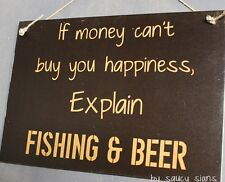 Beer and Fishing Happiness Sign Fish Boating Tackle Hooks Bait Outboard Rod