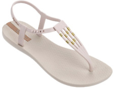 Ipanema Women`s Flip Flops Sunray Sandal Beige and Gold Brazilian Sandals NWT