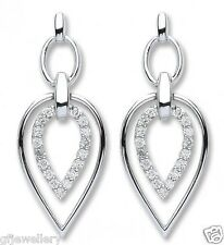 9CT HALLMARKED WHITE GOLD 0.25CT G/H SI DIAMOND DOUBLE ARROWHEAD 26MM EARRINGS