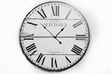 LARGE RUSTIC SHABBY CHIC WHITE WOODEN 'OLD TOWN' ROUND WALL CLOCK