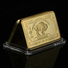Wr Art 1 Troy Oz 100 Mills .999 Gold Us Buffalo Clad Bar Collectors Gift In Case