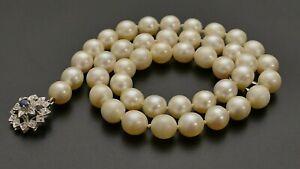 Zuchtperlenkette Collier Zuchtperlen necklace pearls Goldverschluss 750 saphir