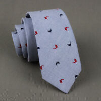 New Man Cotton Blue Neck Tie Wedding Necktie Narrow Slim Skinny Animal Print