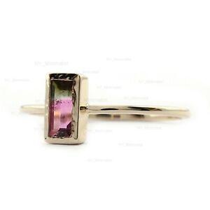 Tri Watermelon Tourmaline Gemstone Wedding Band Ring Solid 14K Rose Gold Jewelry