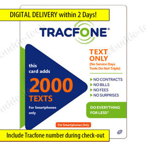 Tracfone 2000 Text Messages ONLY Plan Top-Up Refill PIN Number USA Smartphones