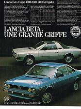 PUBLICITE ADVERTISING 114  1980  LANCIA BETA  COUPE  UNE GRANDE GRIFFE 1600 2000