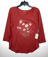 Lucky Brand Womens Coral Watercolor Floral 3/4 Sleeve Tee Size Large NWT