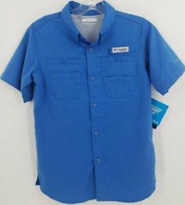 Columbia Boy's PFG Tamiami Short Sleeve Shirt Medium Blue