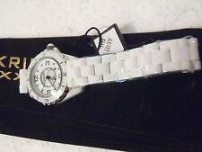 Akribos XXIV AK485WT Sapphire Crystal Ladies White Ceramic Bracelet Women Watch
