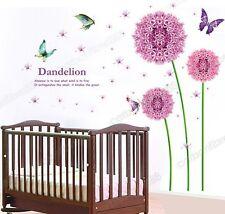 Enorme rosa púrpura diente de León flores pegatinas de pared de vinilo el arte de la calcomanía Mural Wallpaper