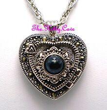 Silber Vintage Viktorianisch Deko Nouveau Markasit Herz Halskette Anhänger Uhr
