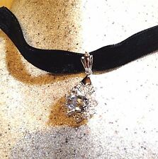 Vintage Genuine Aquamarine White Sapphire 925 Sterling Silver Choker Necklace