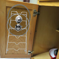 Evelots Cabinet Door & Wall Pot Lid Storage Rack Organizer for 6 Pot/Pan Covers