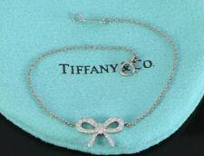 $2,350 Tiffany & Co Platinum Diamond Lobster Clasp 6.75'' Bow Ribbon Bracelet