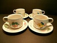 Studio Nova Barrier Reef Cups & Saucers Fish Shells Nautical Beach--4 Sets!!