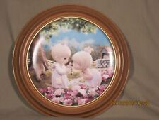 """Vintage Precious Moments Collector Plate """"Good Friends are forever"""" wooden frame"""