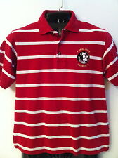 F.S.U. Seminoles Men's Short Sleeve, Red Striped, 100% Cotton, Polo Shirt - S