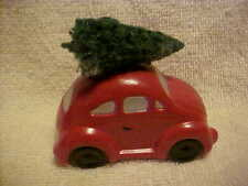 Dept 56 Red Volkswagon Bug With Christmas Tree On Top Hand Painted Ceramic
