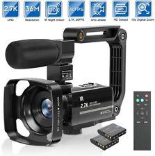 Camcorder Video Camera 2.7K Ultra HD YouTube Vlogging Camera 36M 30FPS 16X Digit