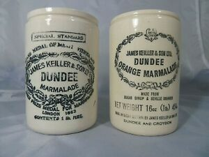 2 x Antique Vintage James Keiller & Son Ltd Stoneware Marmalade Pots Jars