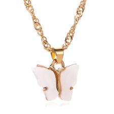 Fashion Women 18K Gold white Cute Butterfly Pendant Necklace Statement Jewelry