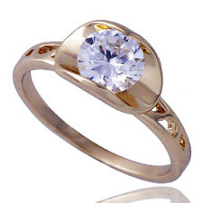Shinning Womens Yellow Gold plated Clear Zirconia Cubic Stone Ring Size 6.5